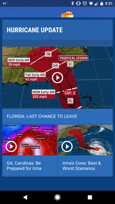 Screenshot from The Weather Channel app.