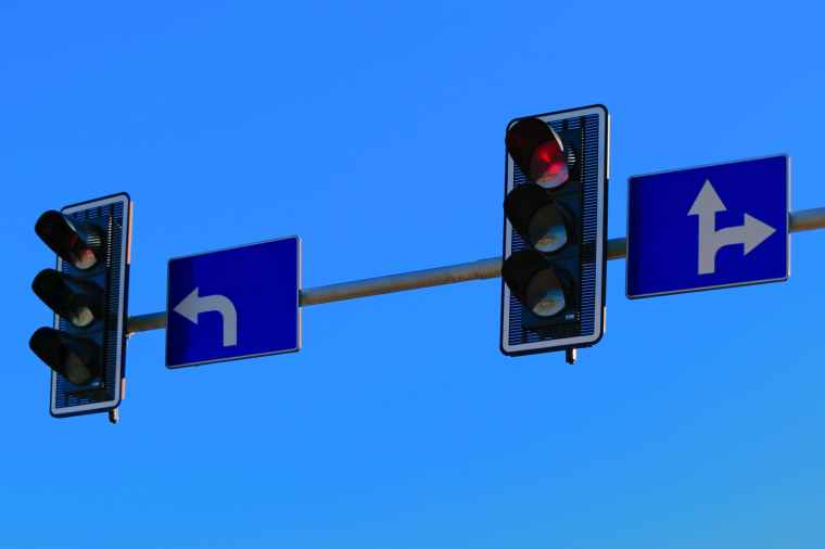 traffic lights with red light on