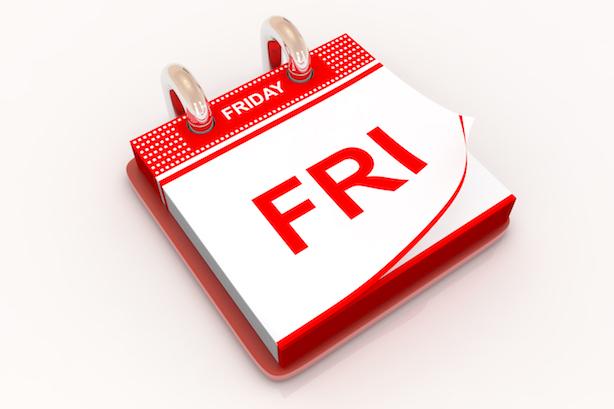 Calendar with Friday,3d render