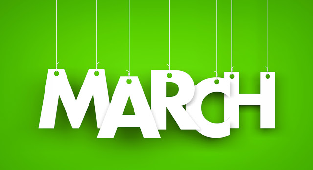 White word MARCH on green background. New year illustration. 3d illustration